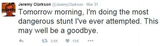 clarkson danger tweet