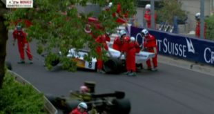 Crane At Monaco Heritage Race Drops Priceless McLaren F1 Car.