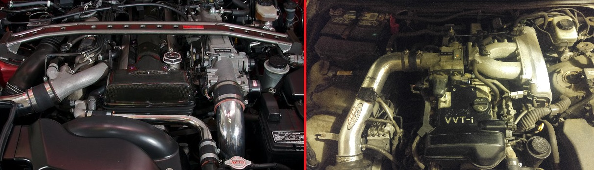 On the left, Stockish 2JZ-GTE. On the right, My mostly stock 2JZ-GE. Notice the intake manifold on mine. It goes over the top of the engine and is a tell tale sign of the N/A GE.