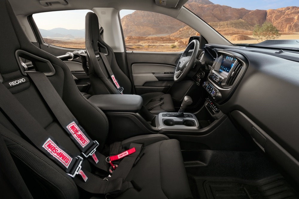 The 2+2 interior of the Chevrolet Colorado ZH2 fuel cell electric vehicle features Recaro seats.