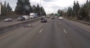 Motorcycle Crash Ends With Rider Sitting On The Trunk Of A Car